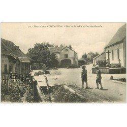 carte postale ancienne 68 DIEFMATTEN. Fontaine Place de la Mairie. Soldats Pompiers