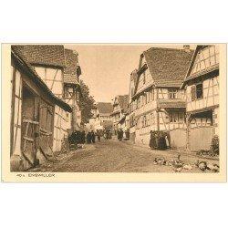 carte postale ancienne 68 ENGWILLER. Alsaciennes et Canards dans une Rue