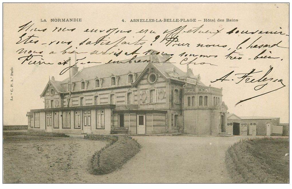 carte postale ancienne 14 ASNELLES-LA-BELLE-PLAGE. Hôtel des Bains 1903
