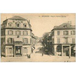 carte postale ancienne 68 MULHOUSE. Cafés Odéon et Moll Place du Nouveau Quartier