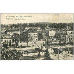 carte postale ancienne 68 MULHOUSE. Partie de la Gare ave Tramway 1913