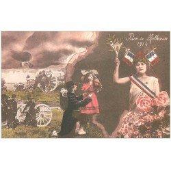 carte postale ancienne 68 MULHOUSE. Prise de la Ville 1914. Soldats et Canons