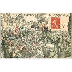 carte postale ancienne 68 MULHOUSE. Réoccupation par l'Armée et Soldats