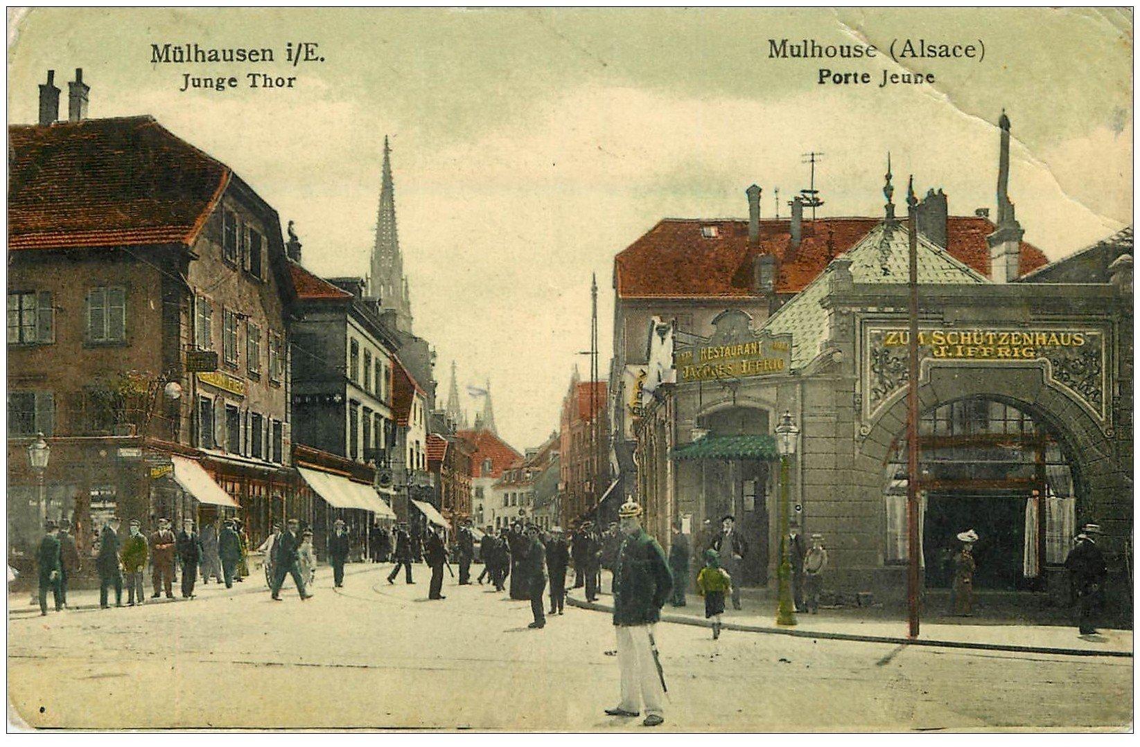 68 mulhouse restaurant iffrig porte jeune 1907 carte for Porte jeune mulhouse