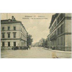 carte postale ancienne 68 MULHOUSE. Rue du Faubourg de Colmar 1910 (petits défauts)...