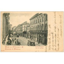 carte postale ancienne 68 MULHOUSE. Tramways rue du Sauvage 1901