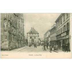 carte postale ancienne 68 THANN. La Grand Rue. Local Cinéma avec Film l'Alsace reconquise