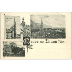 carte postale ancienne 68 THANN. Münster et Total. Engelsburg vers 1900. Timbre manquant