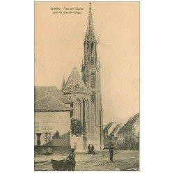 carte postale ancienne 68 THANN. Vue vers l'Eglise de chez Mme Engel 1916 avec Octroi