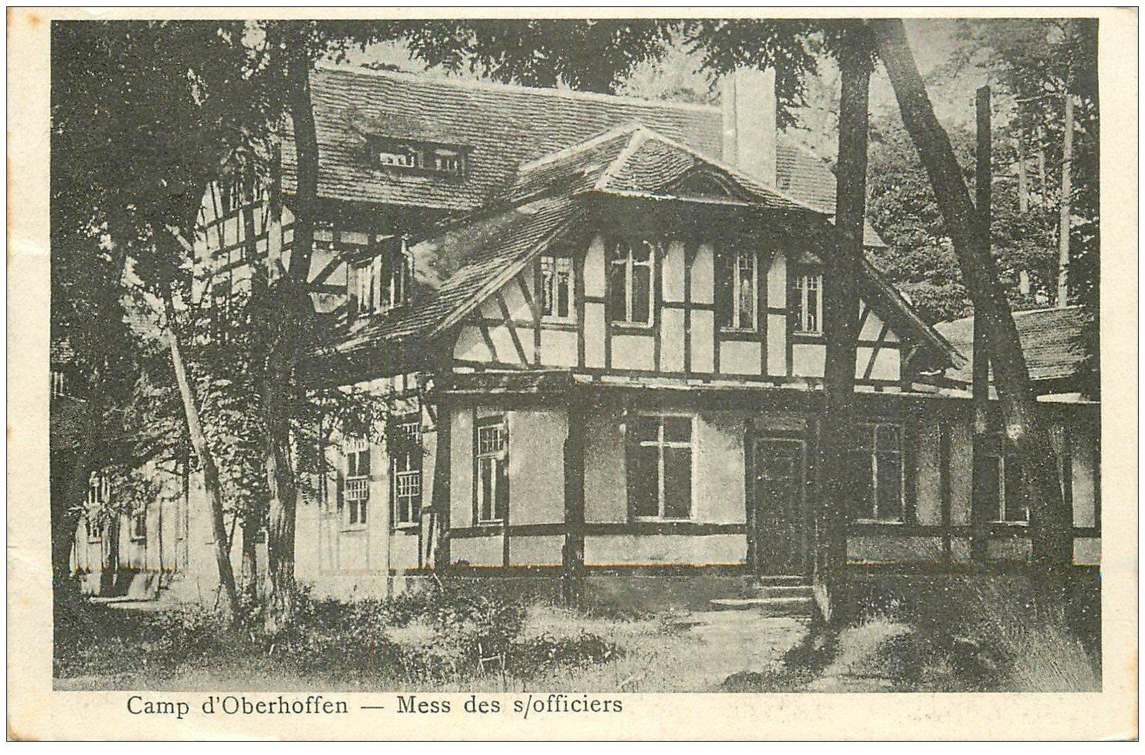 carte postale ancienne 67 CAMP D'OBERHOFFEN. Mess des Officiers 1925. Militaires et Soldats