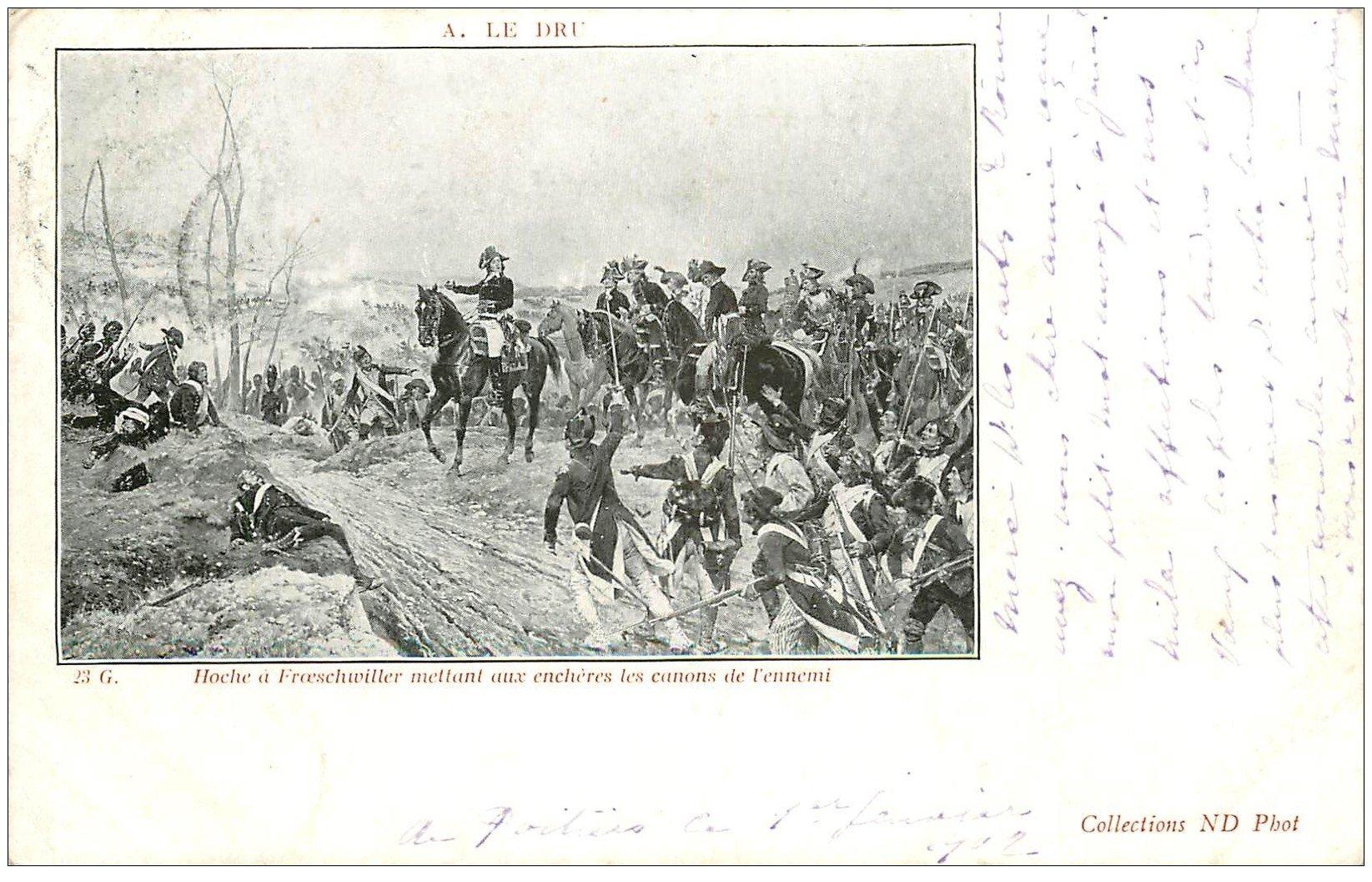 carte postale ancienne 67 FROESCHWILLER. hoche mettant aux enchères les canons de l'ennemi 1902