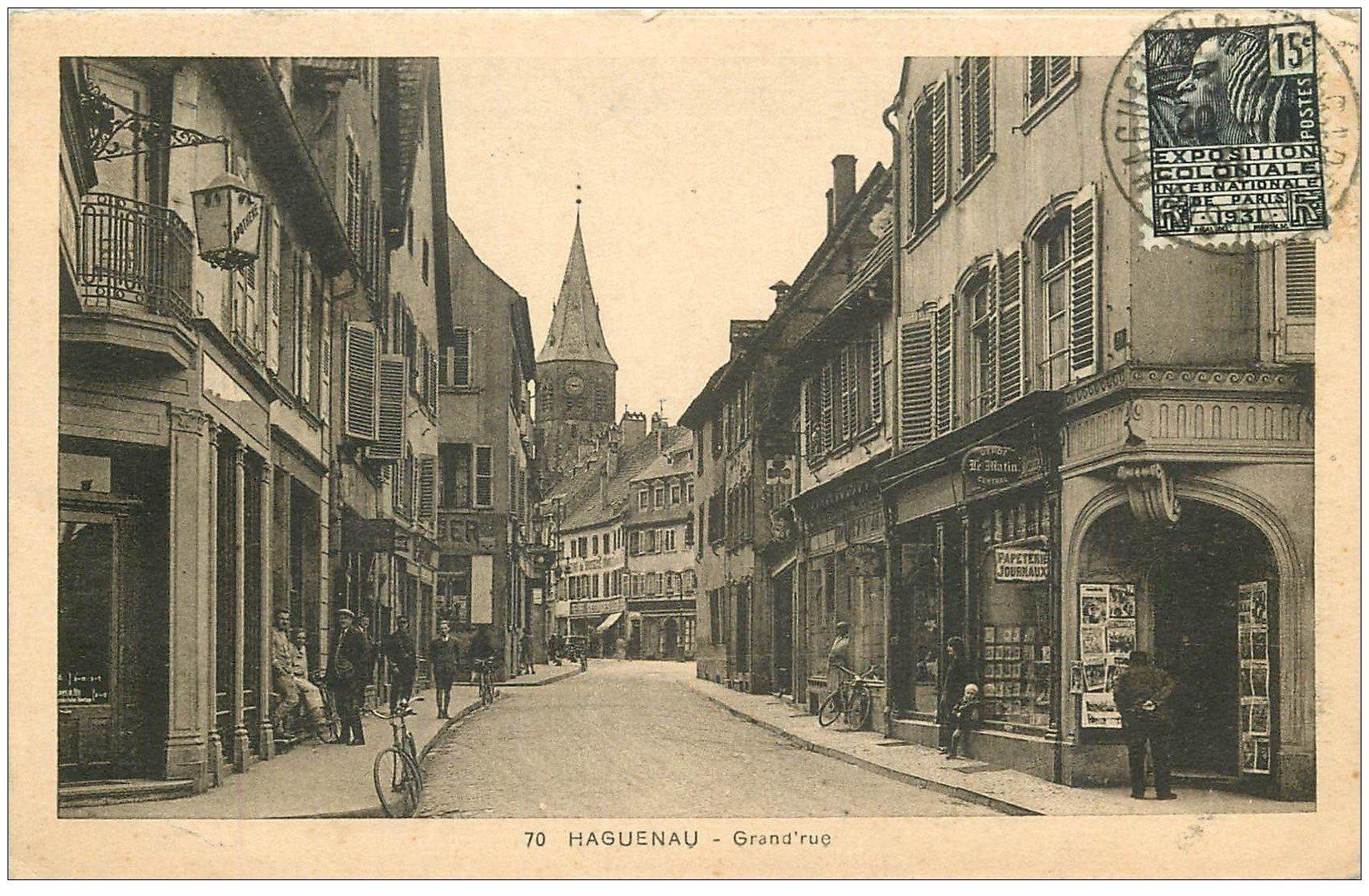 carte postale ancienne 67 HAGUENAU HAGENAU. Grand Rue 1931 Papeterie