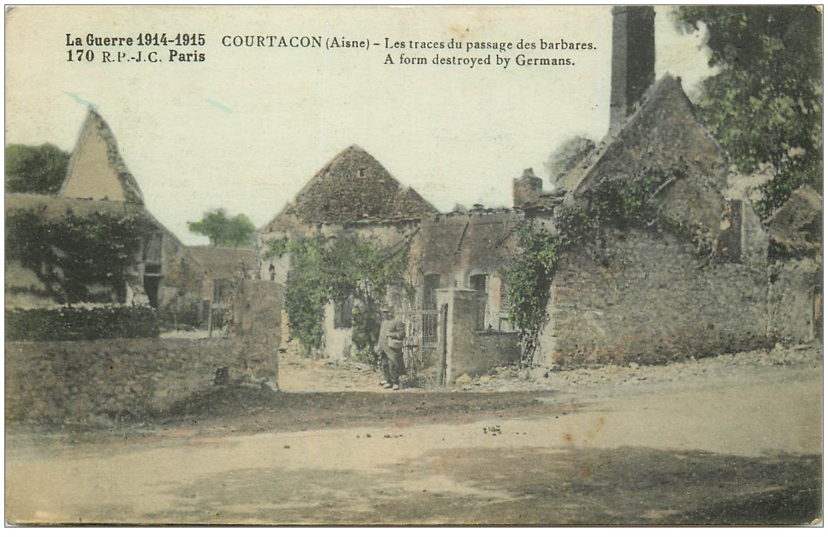carte postale ancienne 02 COURTACON. Traces passage des barbares 1915