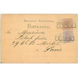 carte postale ancienne 67 STRASBOURG STRASSBURG. Carte correspondance pour Bloch à Paris vers 1877-1887
