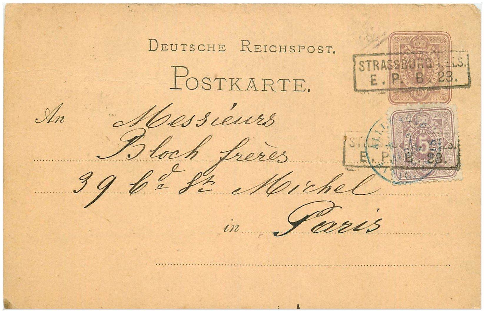 67 strasbourg strassburg carte correspondance pour bloch paris vers 1877 1887. Black Bedroom Furniture Sets. Home Design Ideas