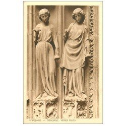 carte postale ancienne 67 STRASBOURG STRASSBURG. Cathédrale. Deux Vierges folles