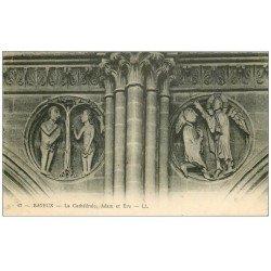 carte postale ancienne 14 BAYEUX. Cathédrale Adam et Eve