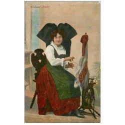 carte postale ancienne 67 STRASBOURG STRASSBURG. Fileuse Alsacienne 1918. Elsässer Tracht