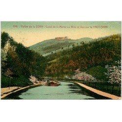 carte postale ancienne 67 VALLEE DE LA ZORN. Péniche sur Canal de la Marne au Rhin. Haut Barr 1931