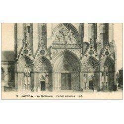 carte postale ancienne 14 BAYEUX. Cathédrale Portail principal
