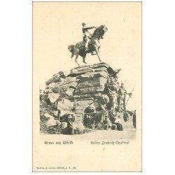 carte postale ancienne 67 WÖRTH. Kaiser Friedrich-Denkmal animation vers 1900