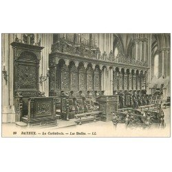carte postale ancienne 14 BAYEUX. Cathédrale Stalles