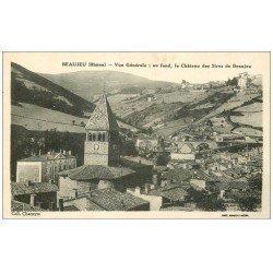 carte postale ancienne 69 BEAUJEU. Au fond Château des Sires de Beaujeu