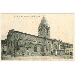 carte postale ancienne 69 BEAUJEU. L'Eglise et François Aubergiste