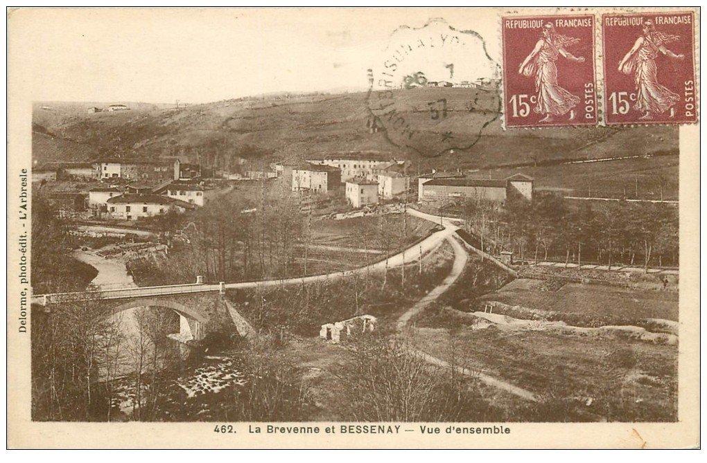carte postale ancienne 69 BREVENNE ET BESSENAY 1937. Destinataire Chollet à Villeurbanne