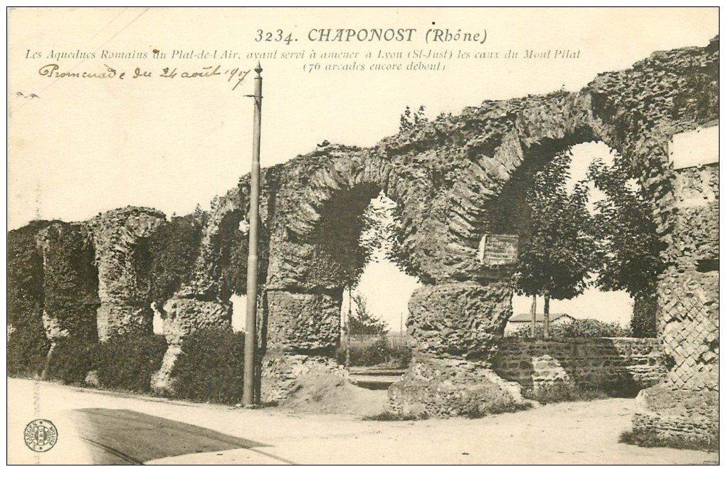 carte postale ancienne 69 CHAPONOST. Aqueducs Romains 1917