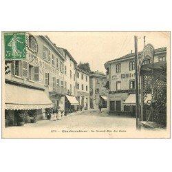carte postale ancienne 69 CHARBONNIERES. La Grande Rue des Eaux 1913 Hôtel et Restaurant Neptune Epicerie Tabac...