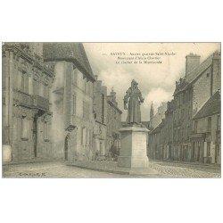 carte postale ancienne 14 BAYEUX. Clocher Miséricorde et Statue Chartier 1923