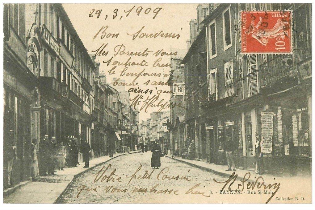 14 bayeux commerce cartes postales journaux rue saint malo 1909 et coiffeur. Black Bedroom Furniture Sets. Home Design Ideas