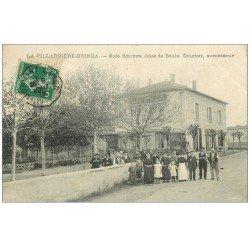 carte postale ancienne 69 LA PILLARDIERE-BRINDA. Rare Jeux de Boule devant Café Bonjour 1912. Pétanque et Sports