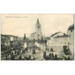carte postale ancienne 69 LENTILLY. La Place Peinture Plâtrerie