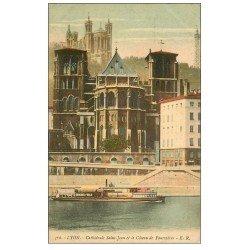 carte postale ancienne 69 LYON. Cathédrale Côteau Fourvières 1922