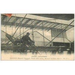 carte postale ancienne 69 LYON. Chavez sur Biplan Farman moteur Gnôme 1910. Aviateur Avion Aéroplane Aviation