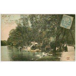 carte postale ancienne 69 LYON. Cygnes au Parc 1905