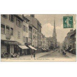 carte postale ancienne 69 VILLEFRANCHE-SUR-SAÔNE. Café Comptoir de l'Avenir rue Nationale