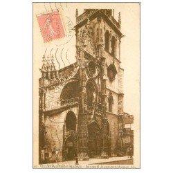 carte postale ancienne 69 VILLEFRANCHE-SUR-SAÔNE. Eglise Notre-Dame des Marais 1928