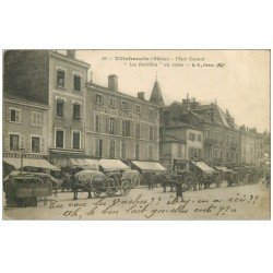 69 VILLEFRANCHE-SUR-SAÔNE. Les Bareilles au repos Place Carnot 1917 Hôtel Ecu de France Café de l'Univers. Vespasiennes