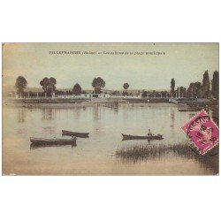 carte postale ancienne 69 VILLEFRANCHE-SUR-SAÔNE. Les Cabines Plage Municipale 1935