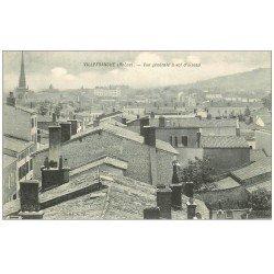 carte postale ancienne 69 VILLEFRANCHE-SUR-SAÔNE. Les Toits à vol d'oiseau