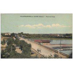 carte postale ancienne 69 VILLEFRANCHE-SUR-SAÔNE. Pont de Frans 1933