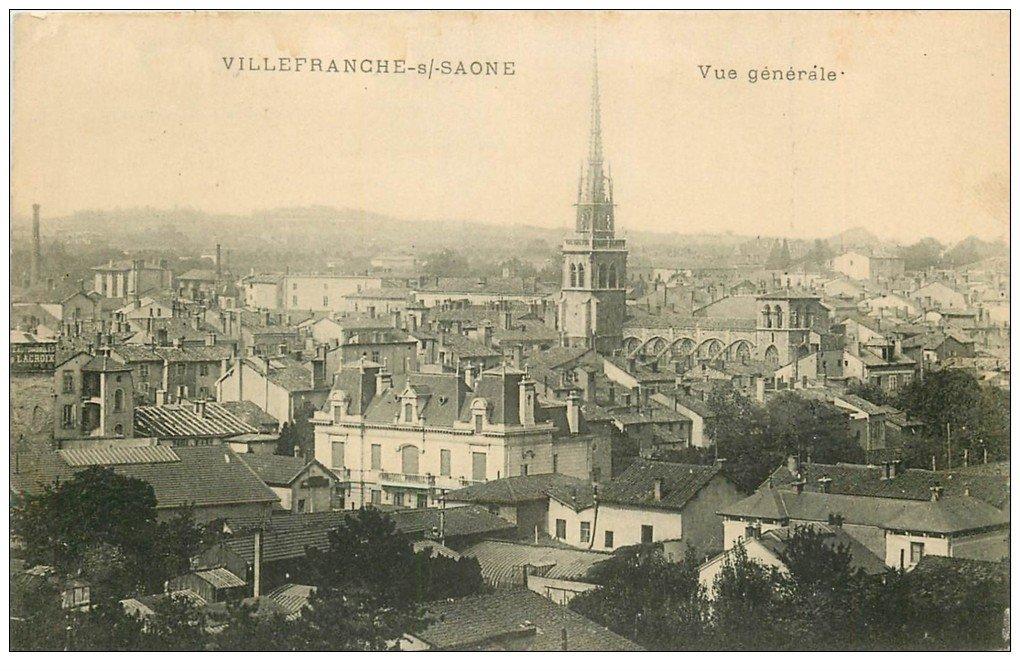 carte postale ancienne 69 VILLEFRANCHE-SUR-SAÔNE. Vue générale 1915