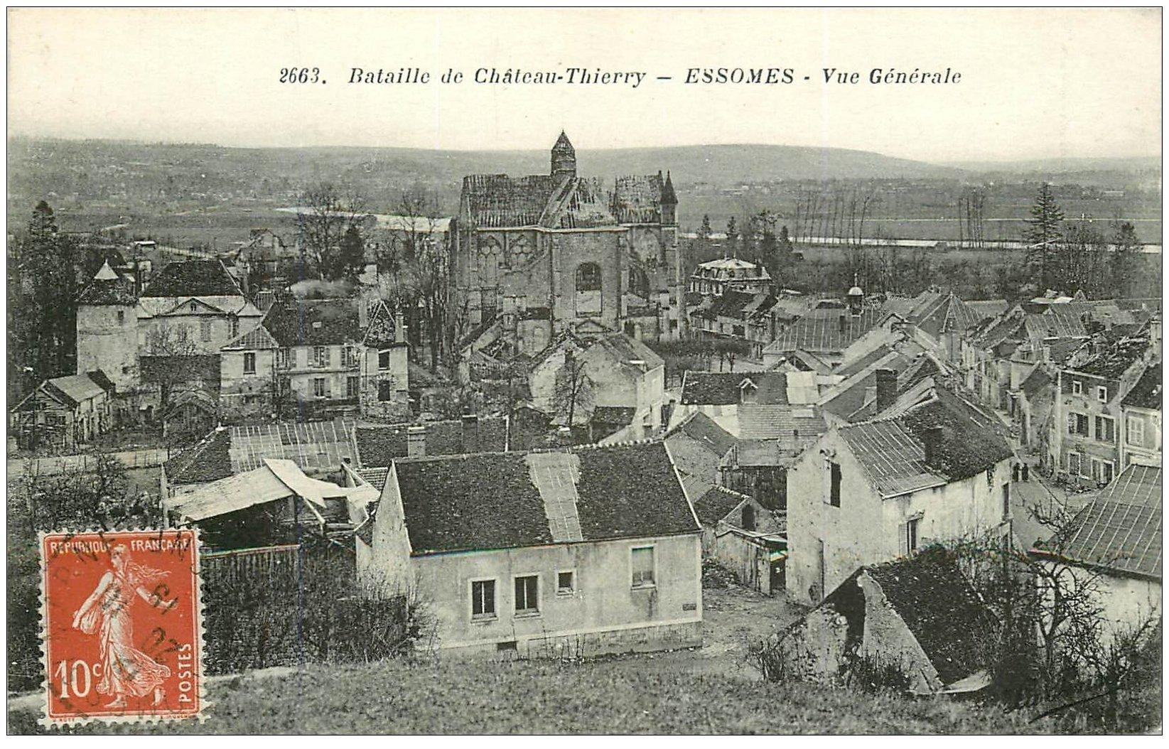 carte postale ancienne 02 ESSOMES. Bataille de Château-Thierry 1919