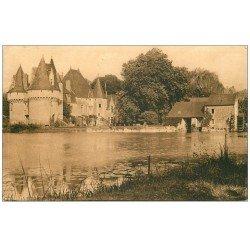 carte postale ancienne 72 BAZOUGUES-SUR-LE-LOIR. Le Château et le Moulin à Eau 1954