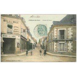 carte postale ancienne 72 CHATEAU-DU-LOIR. Avenue de Tours Hôtel de l'Univers 1906