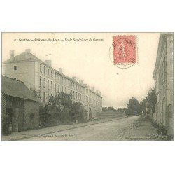 carte postale ancienne 72 CHATEAU-DU-LOIR. Ecole de Garçons 1904