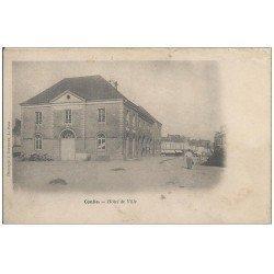 carte postale ancienne 72 CONLIE. Hôtel de Ville vers 1900. Carte entièrement déliassée...